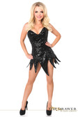Daisy Corset Top Drawer Black Sequin Steel Boned Corset Dress