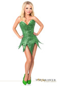 Daisy Corset Top Drawer Green Sequin Steel Boned Corset Dress