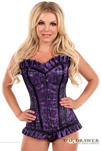 Daisy Corset Top Drawer Purple Lace Steel Boned Corset