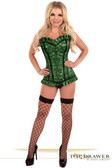 Daisy Corset Top Drawer Green Lace Steel Boned Corset