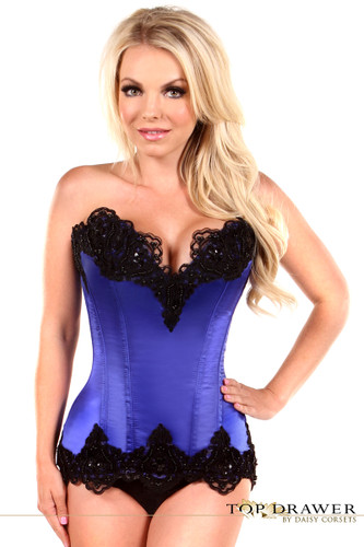 Daisy Corset Top Drawer Blue Satin Steel Boned Beaded Corset