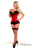 Daisy Corset Top Drawer Red Satin Steel Boned Beaded Corset
