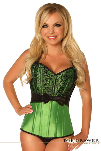 Daisy Corset Top Drawer Green Lace and Bow Halter Steel Boned Corset