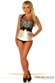 Daisy Corset Top Drawer Ivory Lace and Bow Halter Steel Boned Corset
