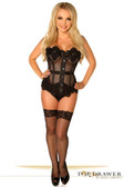 Daisy Corset Top Drawer Black Mesh Net Beaded Steel Boned Corset