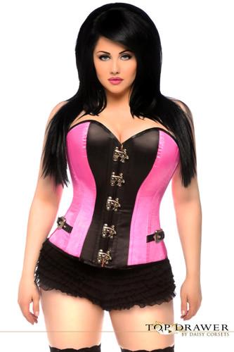 Daisy Corset Top Drawer Pink Buckle Steel Boned Corset