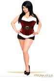 Daisy Corset Top Drawer Red Holiday Velvet Steel Boned Corset