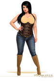 Daisy Corset Top Drawer Steel Boned Distressed Faux Leather Underbust Corset Top