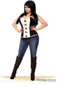 Daisy Corset Top Drawer Black/White Brocade Steel Boned Corset Top with Buckles