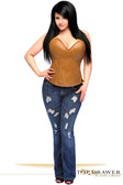 Daisy Corset Top Drawer Camel Distressed Faux Leather Steel Boned Corset Top