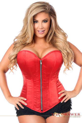 Daisy Corset Top Drawer Plus Size Red Satin Steel Boned Corset