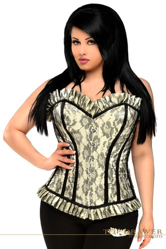 Daisy Corset Top Drawer Plus Size Ivory Lace Steel Boned Corset