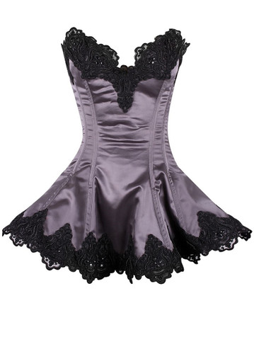 Daisy Corset Top Drawer Gunmetal Steel Boned Beaded and Lace Corset Dress