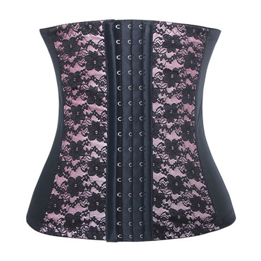 Daisy Corset Pink and Black Lace Steel Boned Elastic Waist Trainer