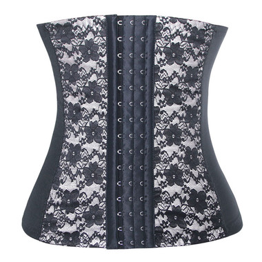 Daisy Corset White and Black Lace Steel Boned Elastic Waist Trainer