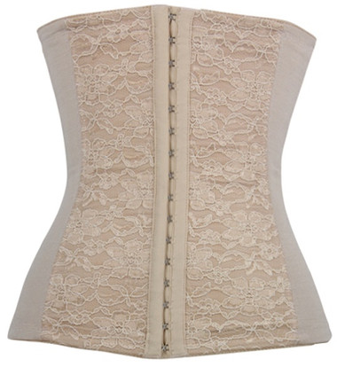 Daisy Corset Tan Lace Steel Boned Waist Training Corset