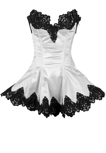 Daisy Corset Top Drawer White Steel Boned Beaded and Lace Corset Dress