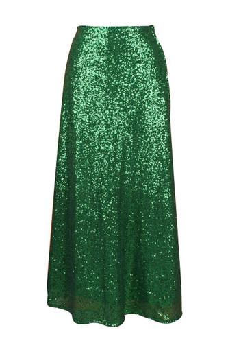 Daisy Corset Green Long Sequin Skirt