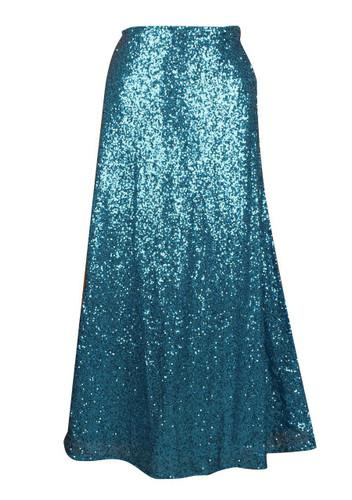 Daisy Corset Turquoise Long Sequin Skirt