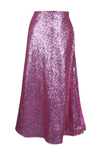 Daisy Corset Pink Long Sequin Skirt