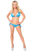 Daisy Corset Turquoise Foil Dot Pucker Back Bikini with Rhinestones