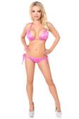 Daisy Corset Fuchsia Foil Dot Pucker Back Bikini with Rhinestones