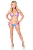 Daisy Corset Fuchsia/Turquoise Foil Dot Pucker Back Bikini with Rhinestones