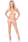 Daisy Corset Baby Pink/White Foil Dot Pucker Back Bikini with Rhinestones