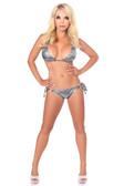 Daisy Corset Gunmetal Glitter Rhinestone Pucker Back Bikini