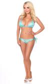 Daisy Corset Turquoise Glitter Rhinestones Pucker Back Bikini