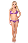 Daisy Corset Purple Glitter Rhinestones Rings Pucker Back Bikini