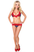 Daisy Corset Navy Stars with Red Lace Trim Pucker Back Bikini