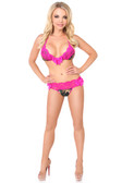 Daisy Corset Camouflage Pucker Back Bikini with Fuchsia Lace Trim