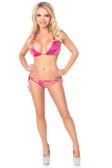 Daisy Corset Fuchsia Hologram Rhinestone Pucker Back Bikini