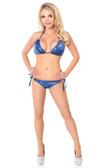 Daisy Corset Blue Hologram Rhinestones Pucker Back Bikini
