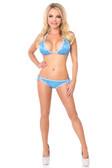 Daisy Corset Lt Blue Sequin and Rhinestones Pucker Back Bikini