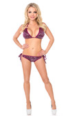 Daisy Corset Plum Sequin and Rhinestones Pucker Back Bikini