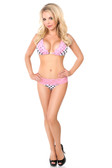 Daisy Corset Pin-Up Polka Dot Pucker Back with Pink Lace Bikini
