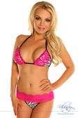 Daisy Corset Zebra Pucker Back Bikini with Pink Lace Trim