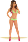 Daisy Corset Fuchsia Sequin Pucker Back Bikini with Green Lace