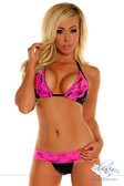 Daisy Corset Black Sequin Pucker Back Bikini with Fuchsia Lace