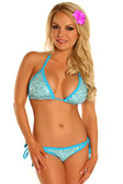Daisy Corset Lt Blue Sequin Pucker Back Bikini