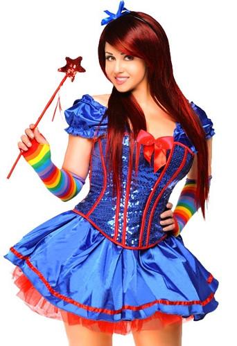 "Daisy Corset 6 PC Sexy "" Rainbow Girl"" Costume - Plus"