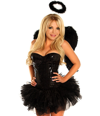 "Daisy Corset 4 PC Sexy Sequin ""Dark Angel"" Costume"