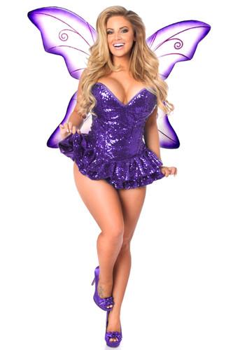 Daisy Corset Top Drawer Premium Sequin Purple Fairy Corset Dress Costume