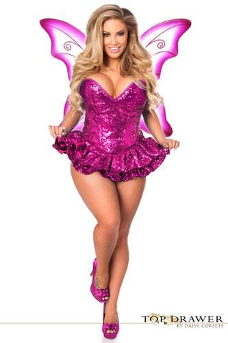 Daisy Corset Top Drawer Premium Sequin Pink Fairy Corset Dress Costume