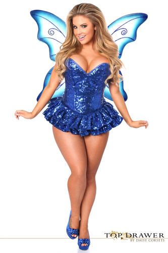 Daisy Corset Top Drawer Premium Sequin Blue Fairy Corset Dress Costume