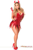 Daisy Corset Top Drawer Plus Size Red Sequin Devil Corset Dress Costume