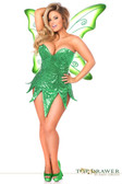 Daisy Corset Top Drawer Plus Size Green Sequin Fairy Corset Dress Costume