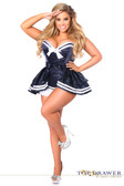 Daisy Corset Top Drawer Plus Size 4 PC Navy Sailor Corset Costume